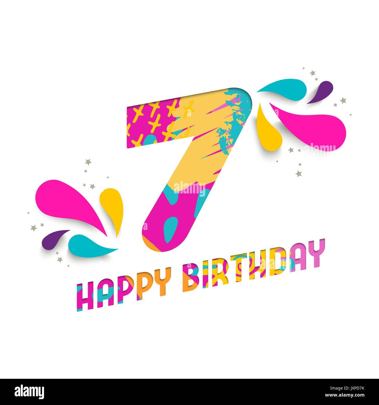 Auguri Buon Compleanno 7 Anni.Buon Compleanno Sette 7 Anno Divertente Taglio Della Carta