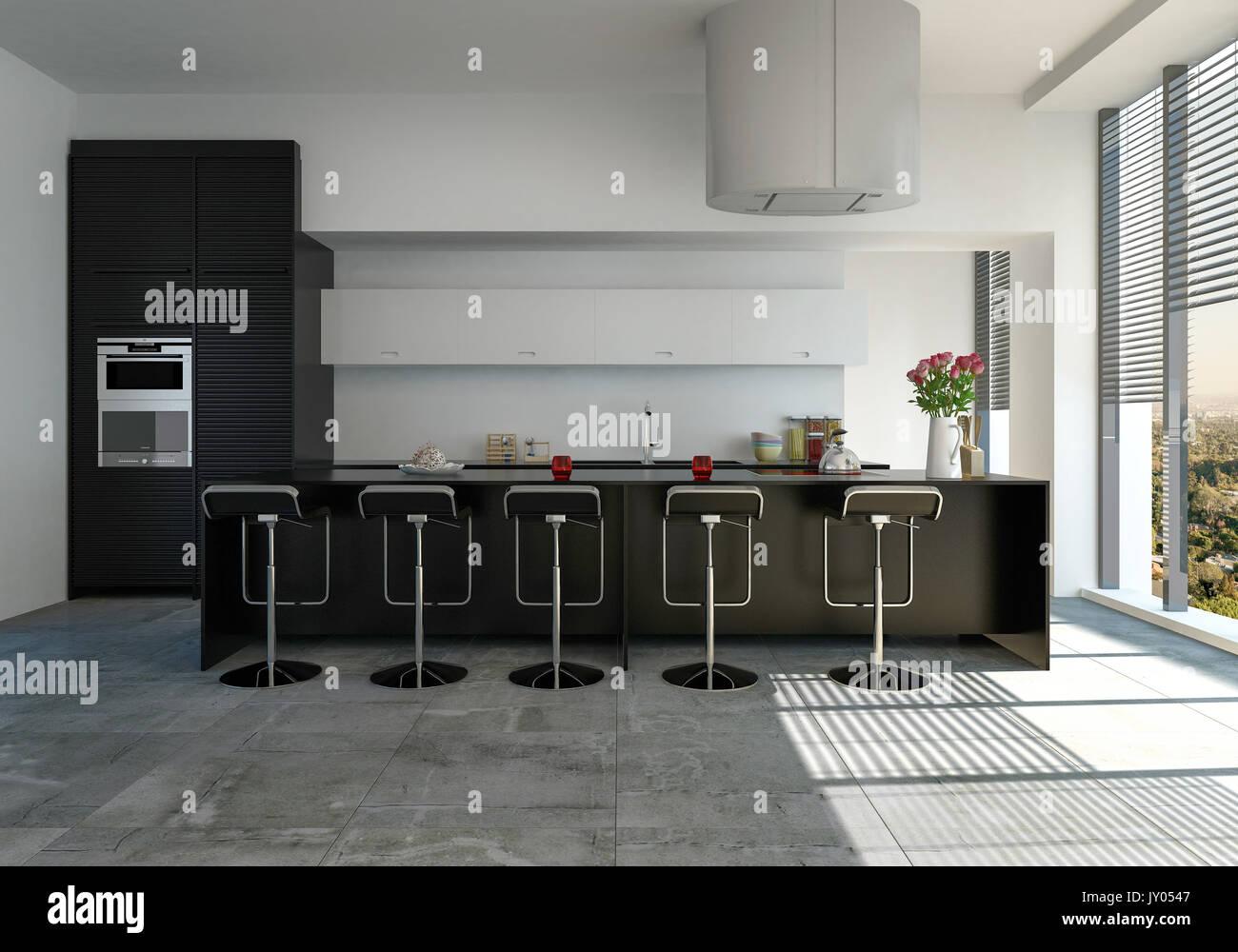 Una cucina moderna con il nero bancone bar con sgabelli e