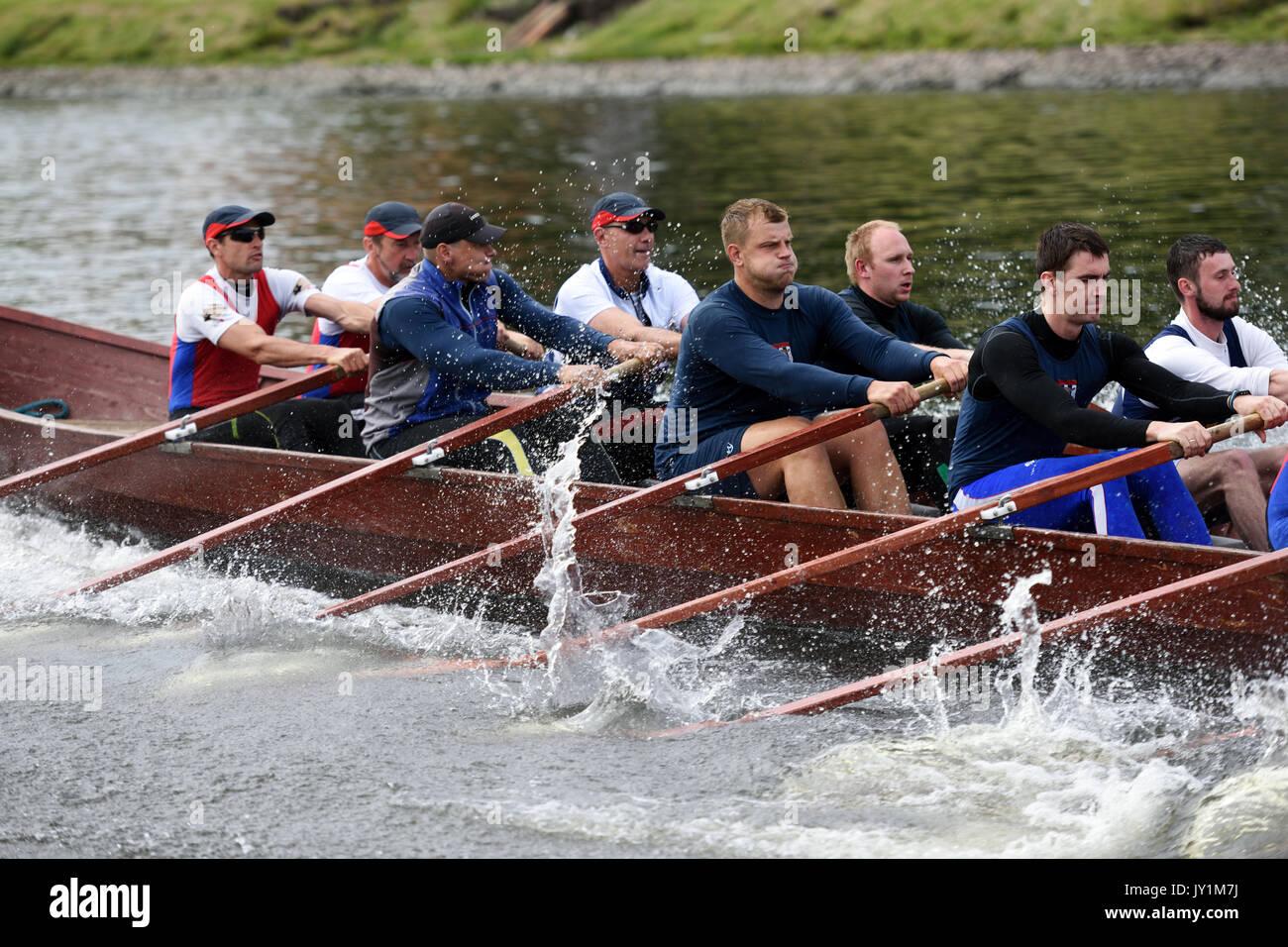 San Pietroburgo, Russia - Giugno 12, 2015: Concorsi di Viking barche durante il Golden lame regata. Questo genere di competizioni rendono la gara di accessi Immagini Stock
