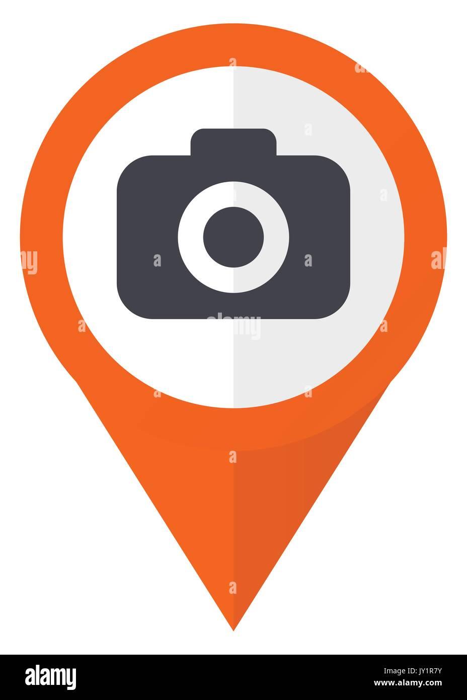 Macchina fotografica puntatore arancione icona vettoriale in formato eps 10 isolato su sfondo bianco. Immagini Stock