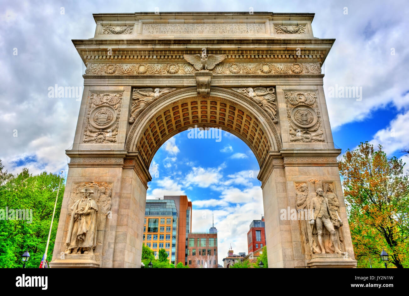 Washington Square Arch, un marmo arco trionfale a Manhattan, New York City Immagini Stock