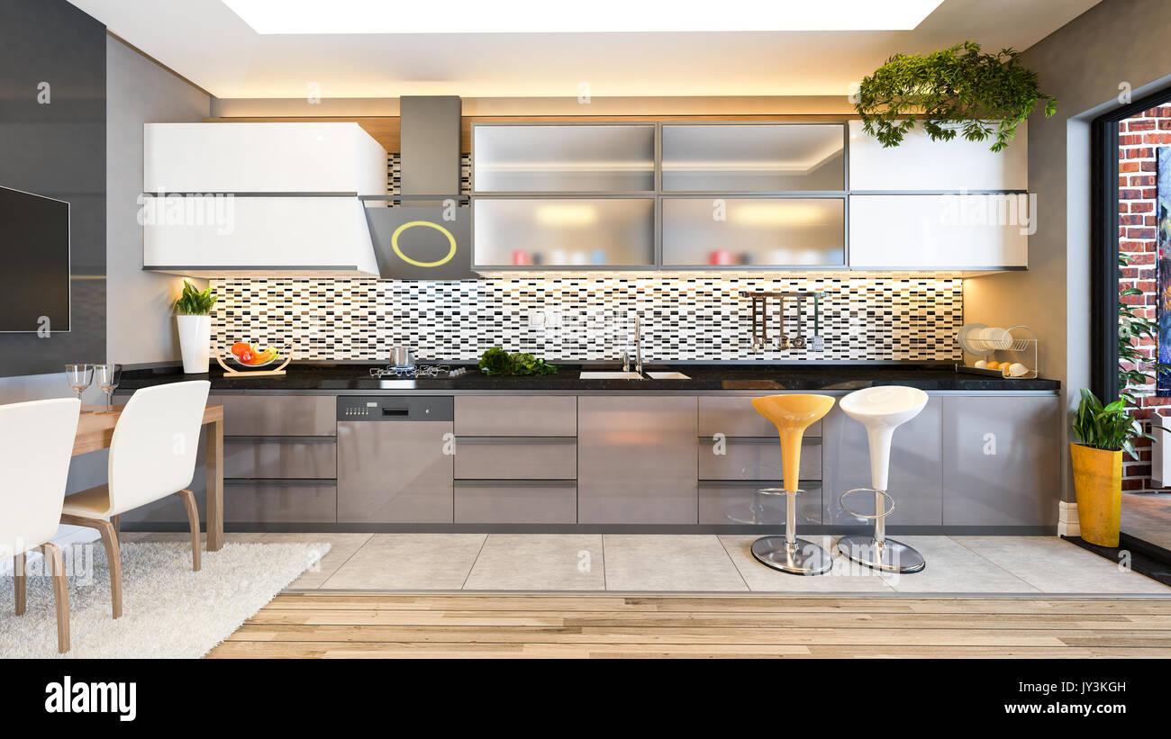 Colore cappuccino cucina design bianco nero in ceramica con frutta ...