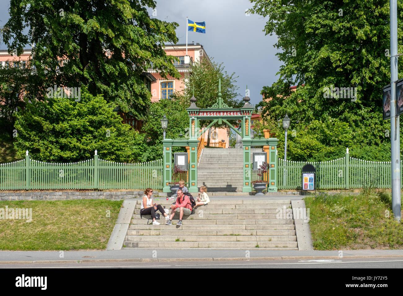 Hasselbacken a Djurgarden a Stoccolma. Djurgarden è una zona ricreativa con edifici storici e monumenti, parco di divertimenti e open-air museum. Immagini Stock