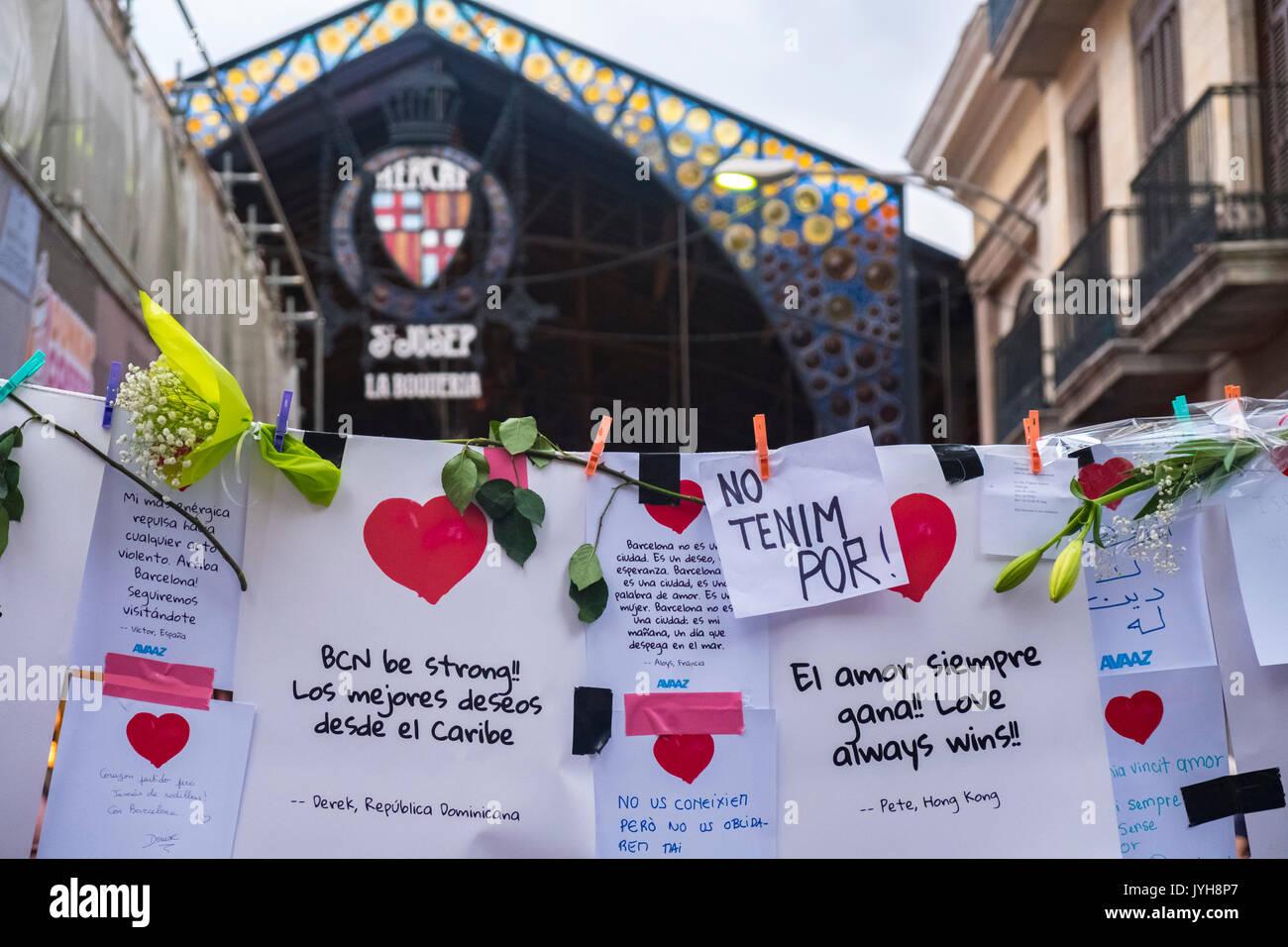Barcellona, Spagna. 19 Ago, 2017. Il 19 agosto 2017 la città di Barcellona ha sofferto la ISIS attacco terroristico, Foto Stock