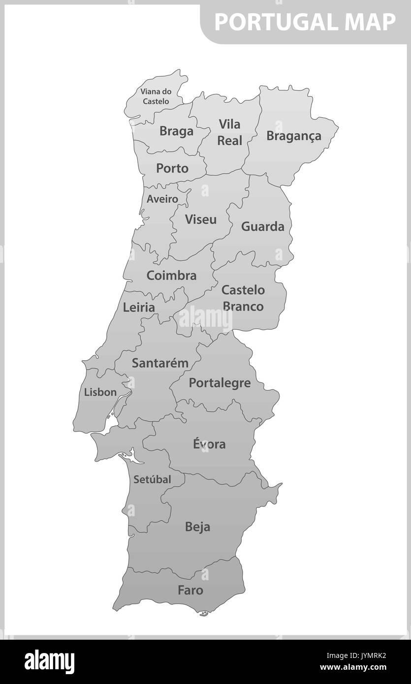 Cartina Dettagliata Del Portogallo.La Mappa Dettagliata Del Portogallo Con Le Regioni O Gli Stati Membri Immagine E Vettoriale Alamy