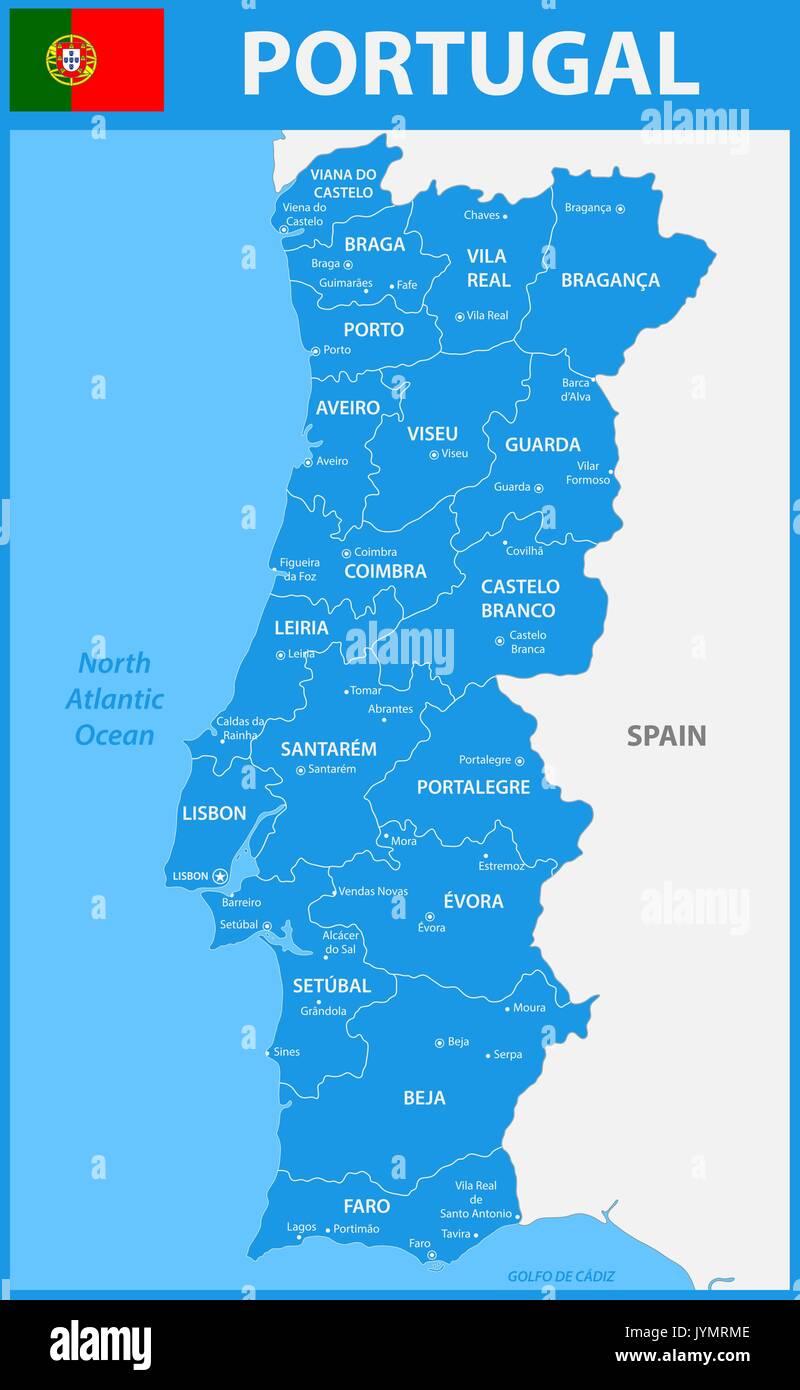 Portogallo Cartina Dettagliata.La Mappa Dettagliata Del Portogallo Con Le Regioni O Gli