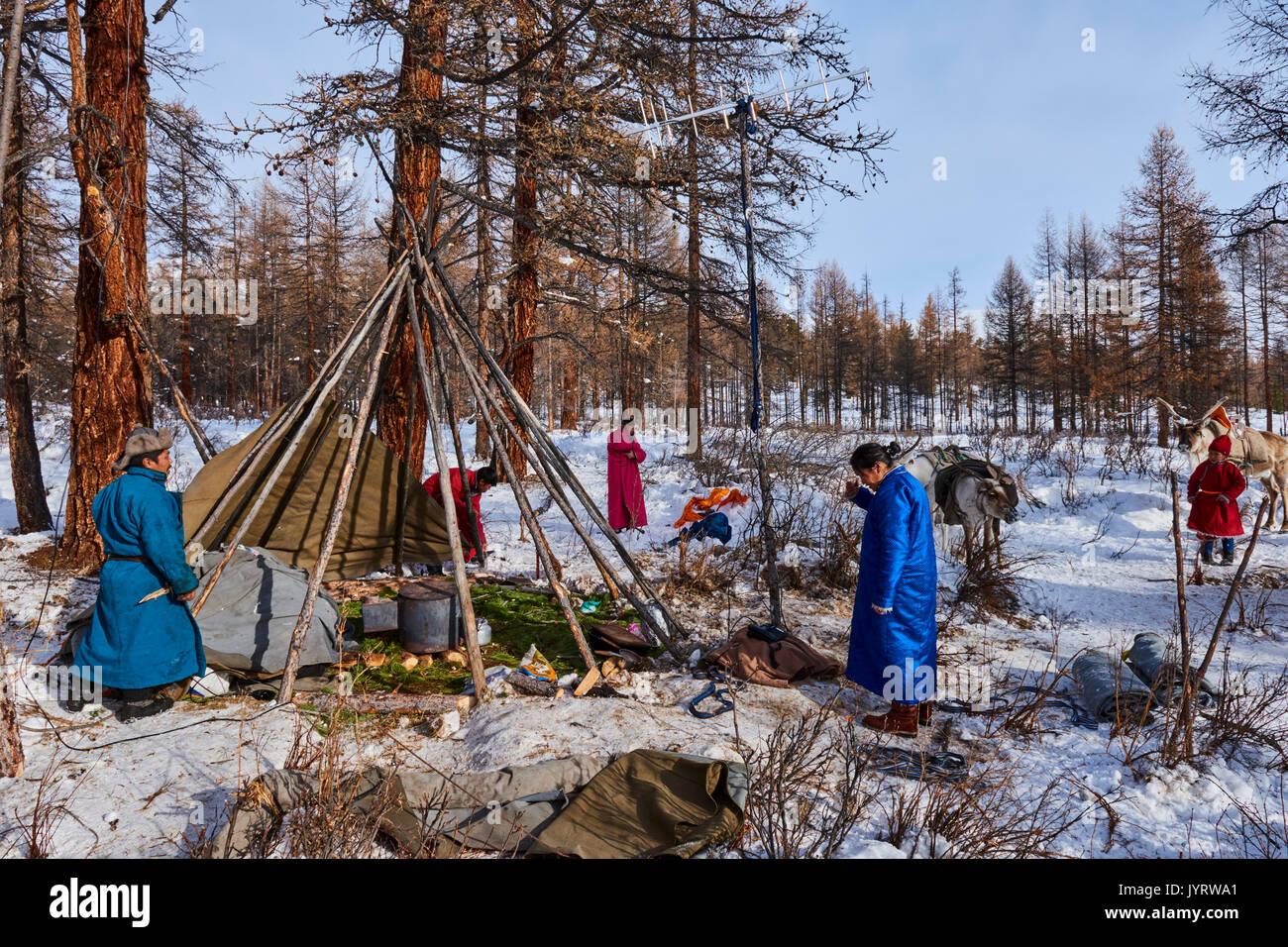 Mongolia, Khovsgol provincia, Tsaatan, renne Herder, il Winter Camp, Ganbat la famiglia sta preparando la transumanza invernale Immagini Stock
