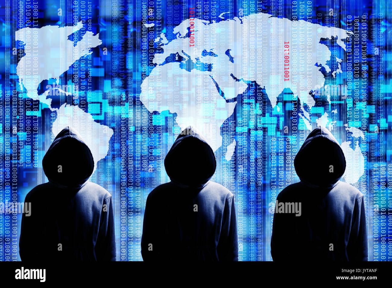 A livello globale il concetto di hacking Immagini Stock