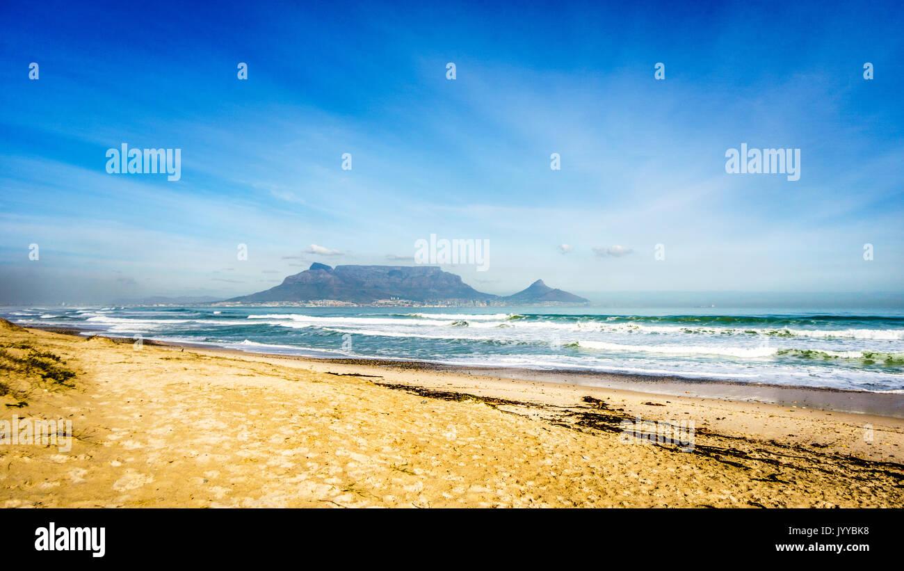 La mattina presto vista di Città del Capo e di Table Mountain con testa di leone e Signal Hill sulla destra e Devil's Peak sulla sinistra. Vista da Bloubergstr Immagini Stock