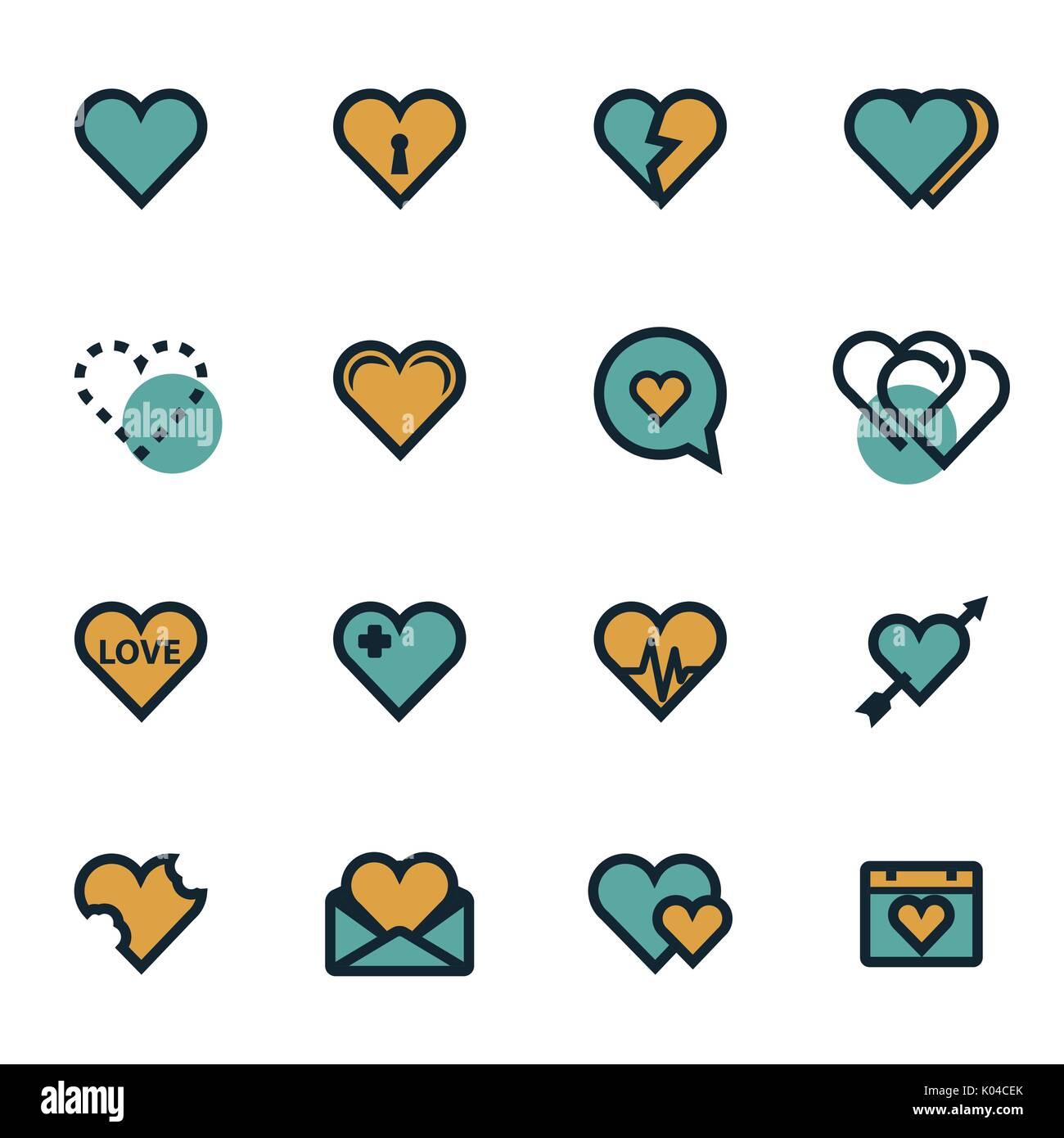 Vettore cuore piatto set di icone Immagini Stock