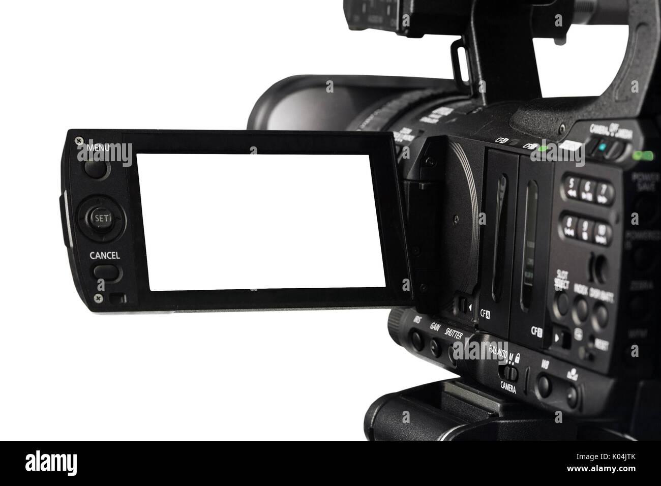 Tagliare fuori della videocamera HD e mirino Immagini Stock