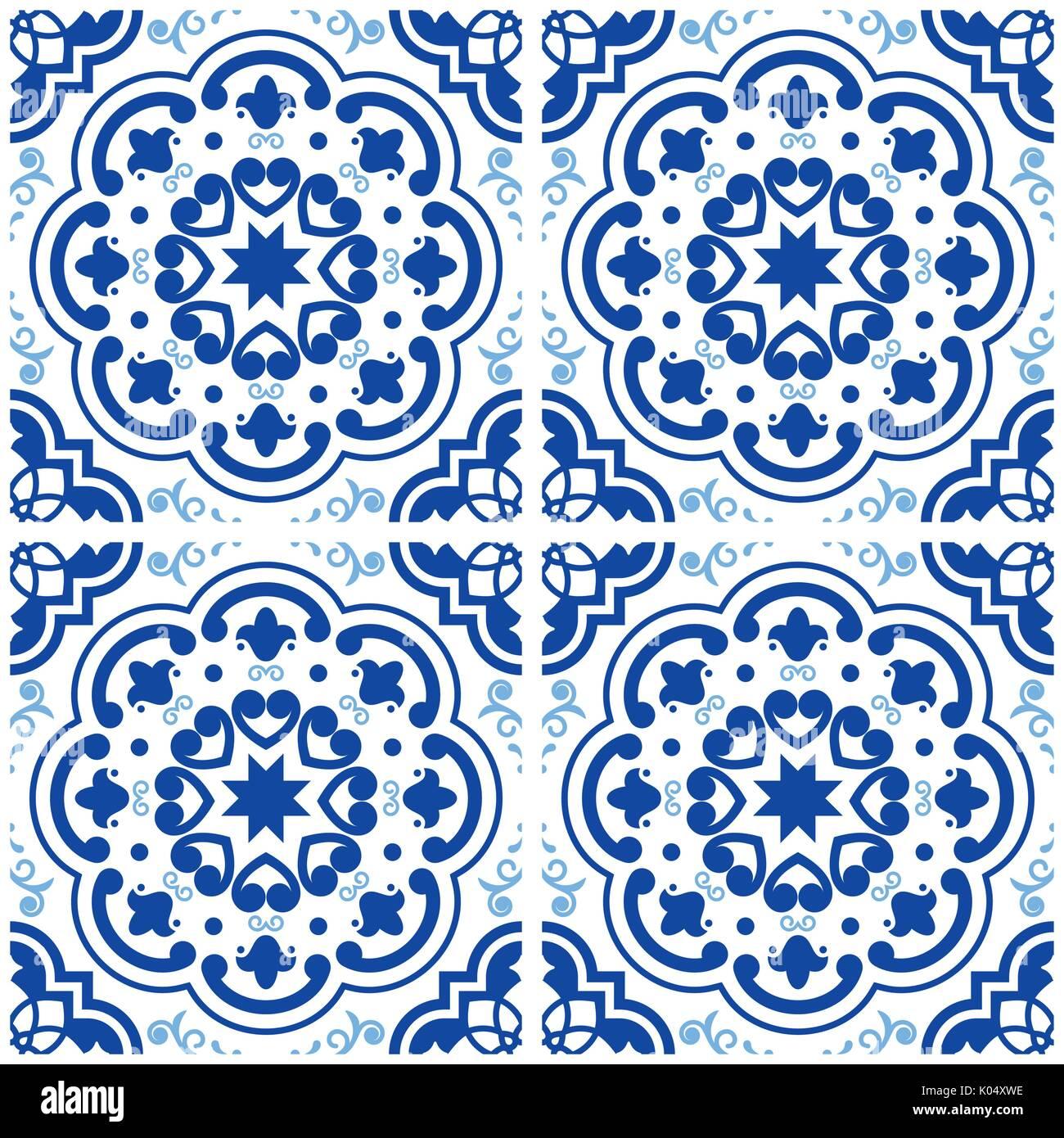 Portoghese Azulejos Piastrelle Del Pavimento Pattern, Lisbona Seamless  Indigo Piastrelle Blu, Geometrica Vintage Design Ceramico, Spagnolo Sfondo  Vettoriale