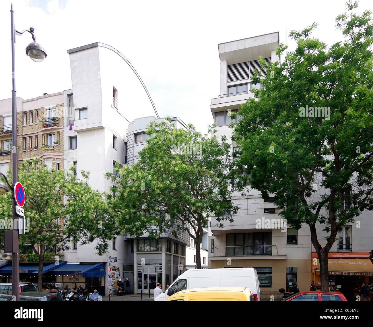 Parigi, Francia, fantasiosa alloggi sociali regime, a Belleville, sfruttando sotto-utilizzati backlands, Foto Stock
