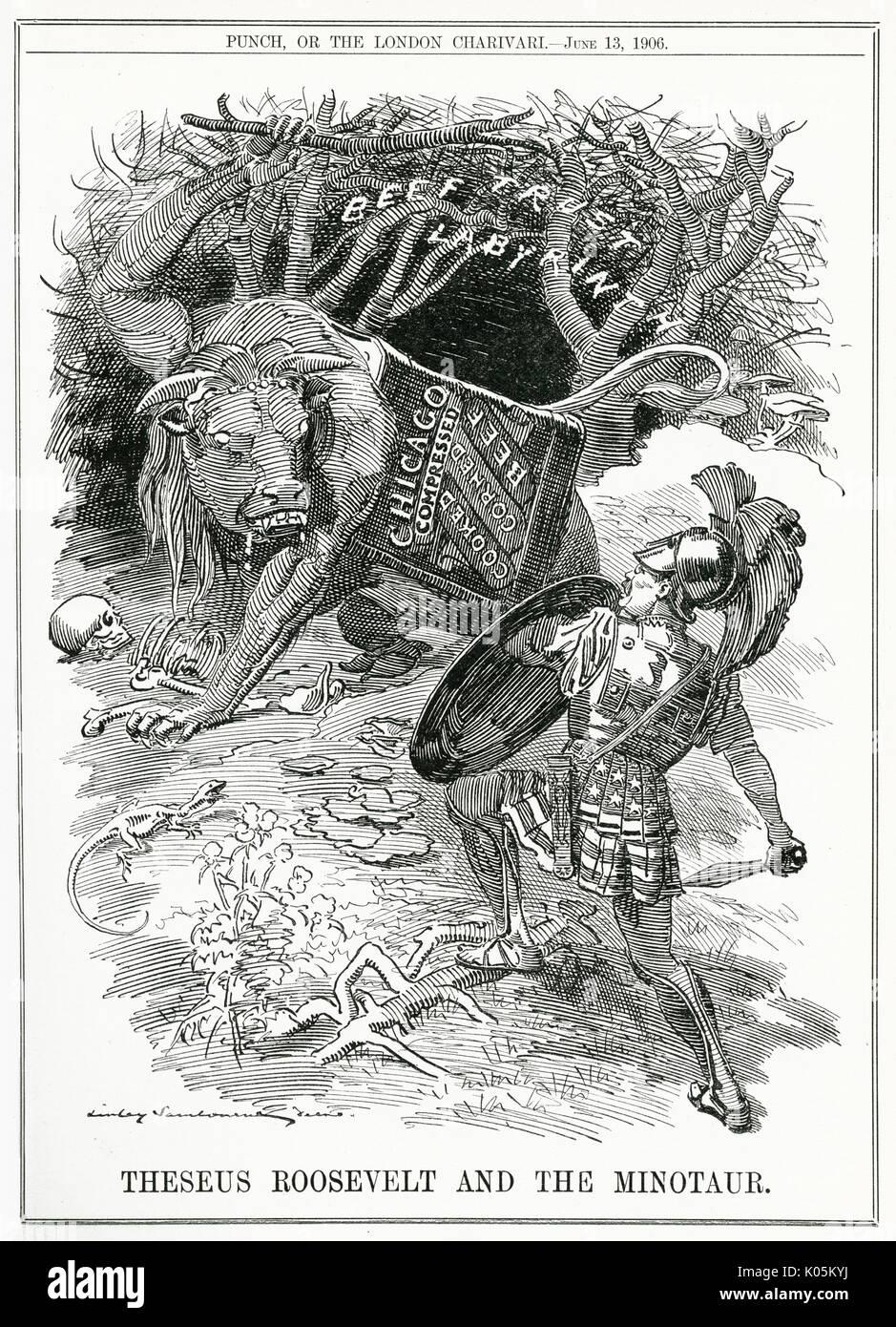 """Teseo Roosevelt e il MINOTAURO': Roosevelt sfide Chicago carni bovine trust. Data: 1906 Immagini Stock"