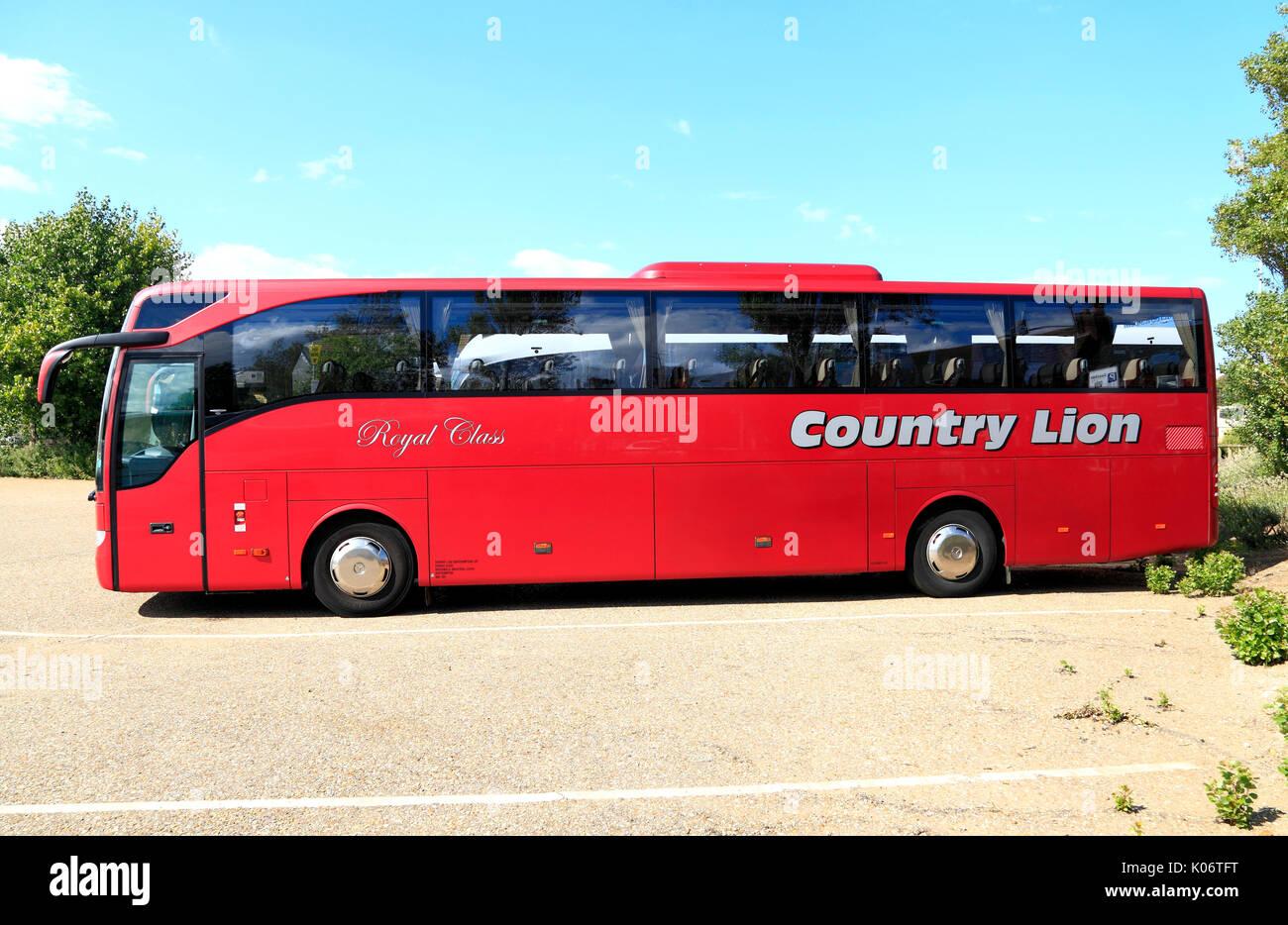 Paese di Lion, Royal Class, autobus e pullman di viaggio, viaggio in giornata, gite, escursioni, escursioni, agenzia di viaggi, compagnie di trasporto, vacanze, England, Regno Unito Immagini Stock