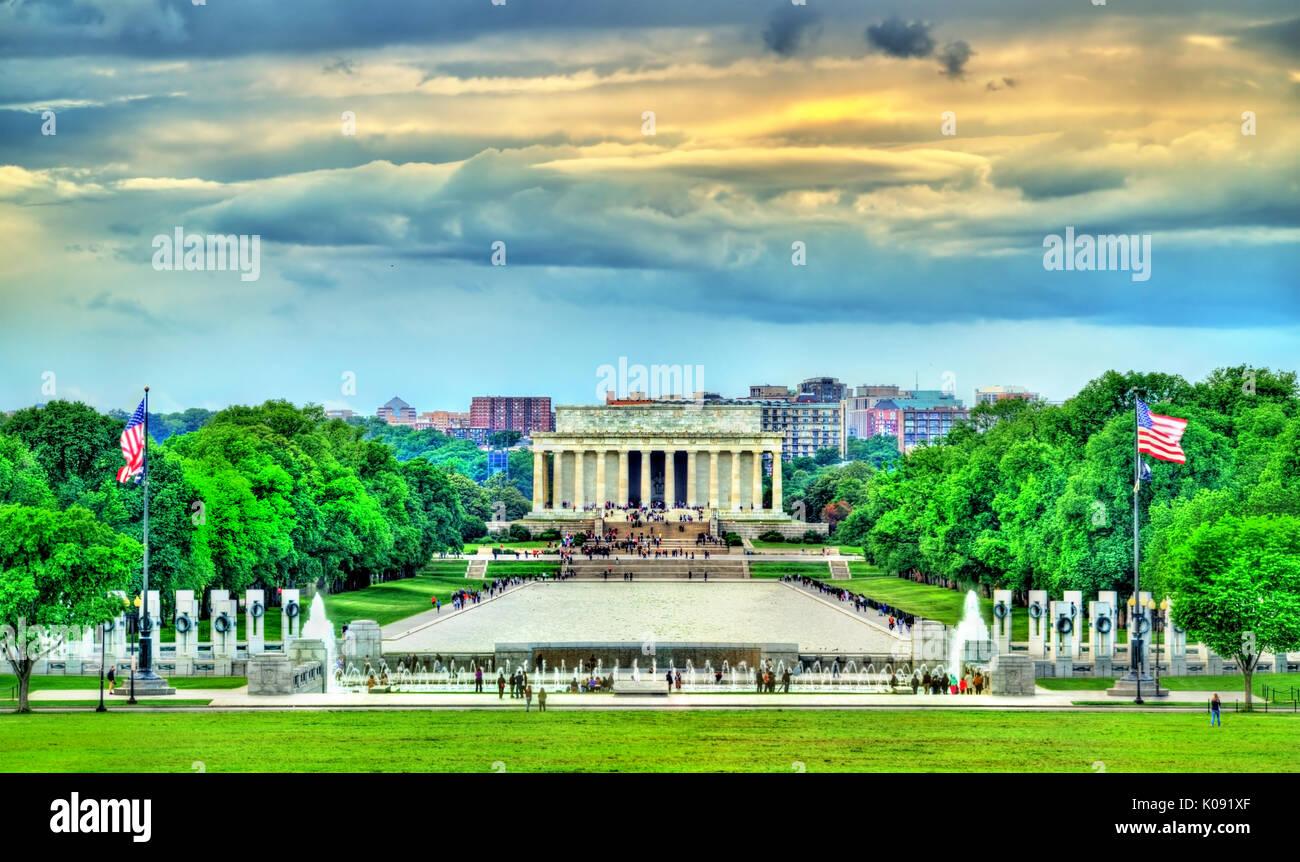 Vista del Lincoln Memorial sul National Mall di Washington, D.C. Foto Stock
