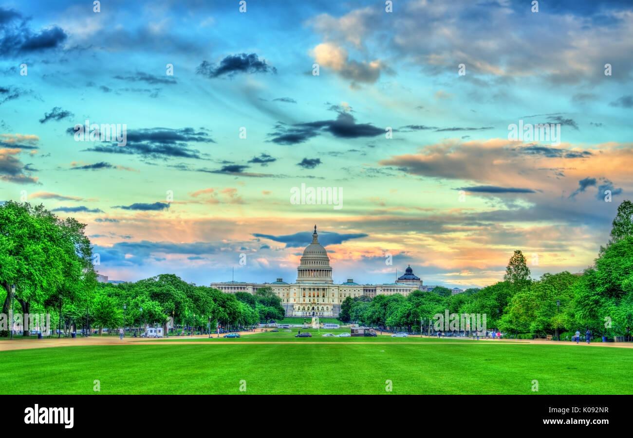 Gli Stati Uniti Campidoglio il National Mall di Washington DC Immagini Stock