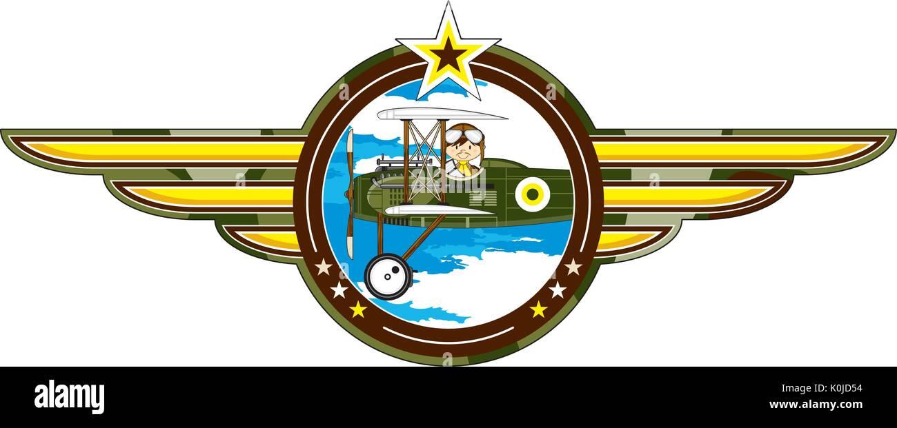 Cartoon Vintage piano Bi e pilota di illustrazione vettoriale Immagini Stock 967e7c8c5723