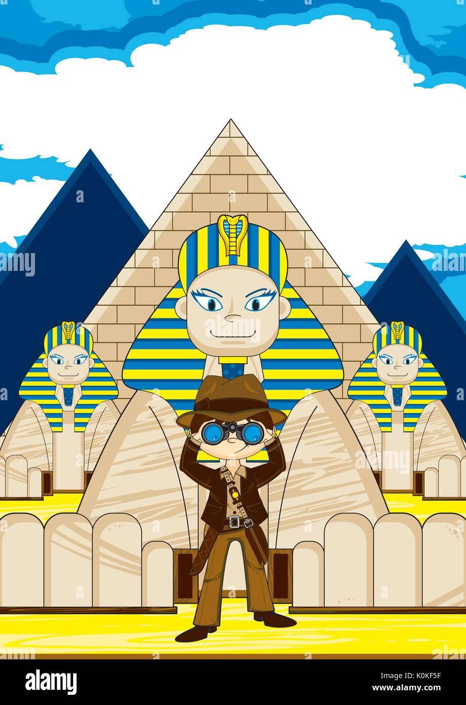 Cartoon carino explorer carattere con sfinge egizia e piramidi