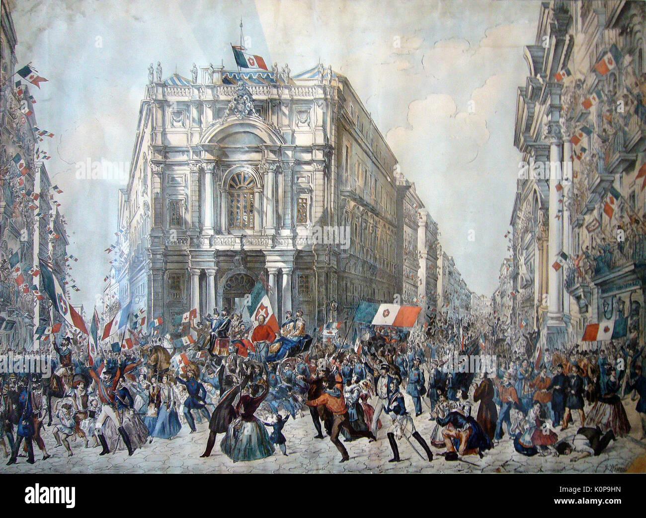 GARIABALDI entra a Napoli il 7 settembre 1860 Foto Stock
