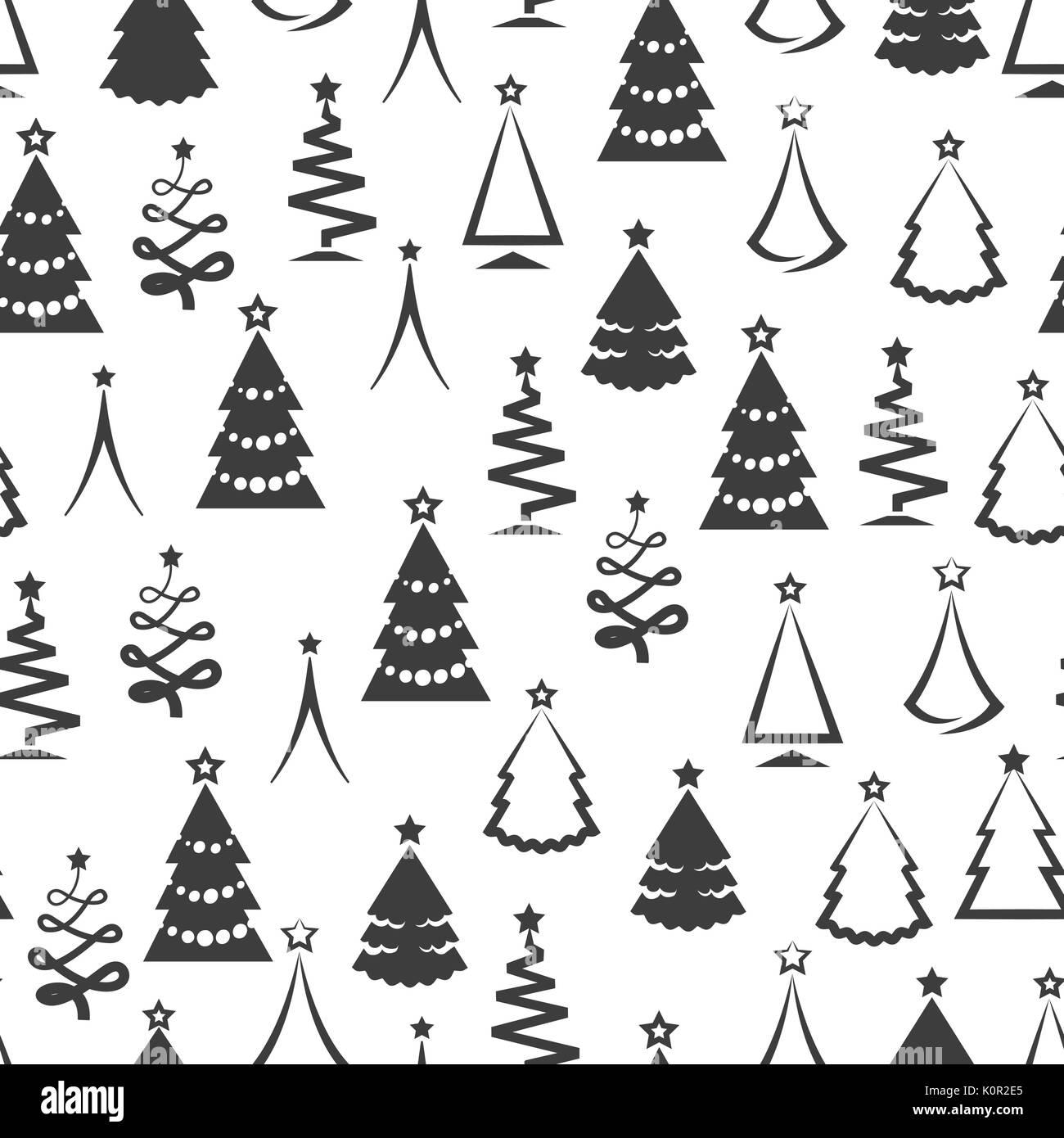 Immagini Natale In Bianco E Nero.Monochrome Albero Di Natale Seamless Pattern Nei Colori Bianco E Nero Illustrazione Vettoriale Immagine E Vettoriale Alamy