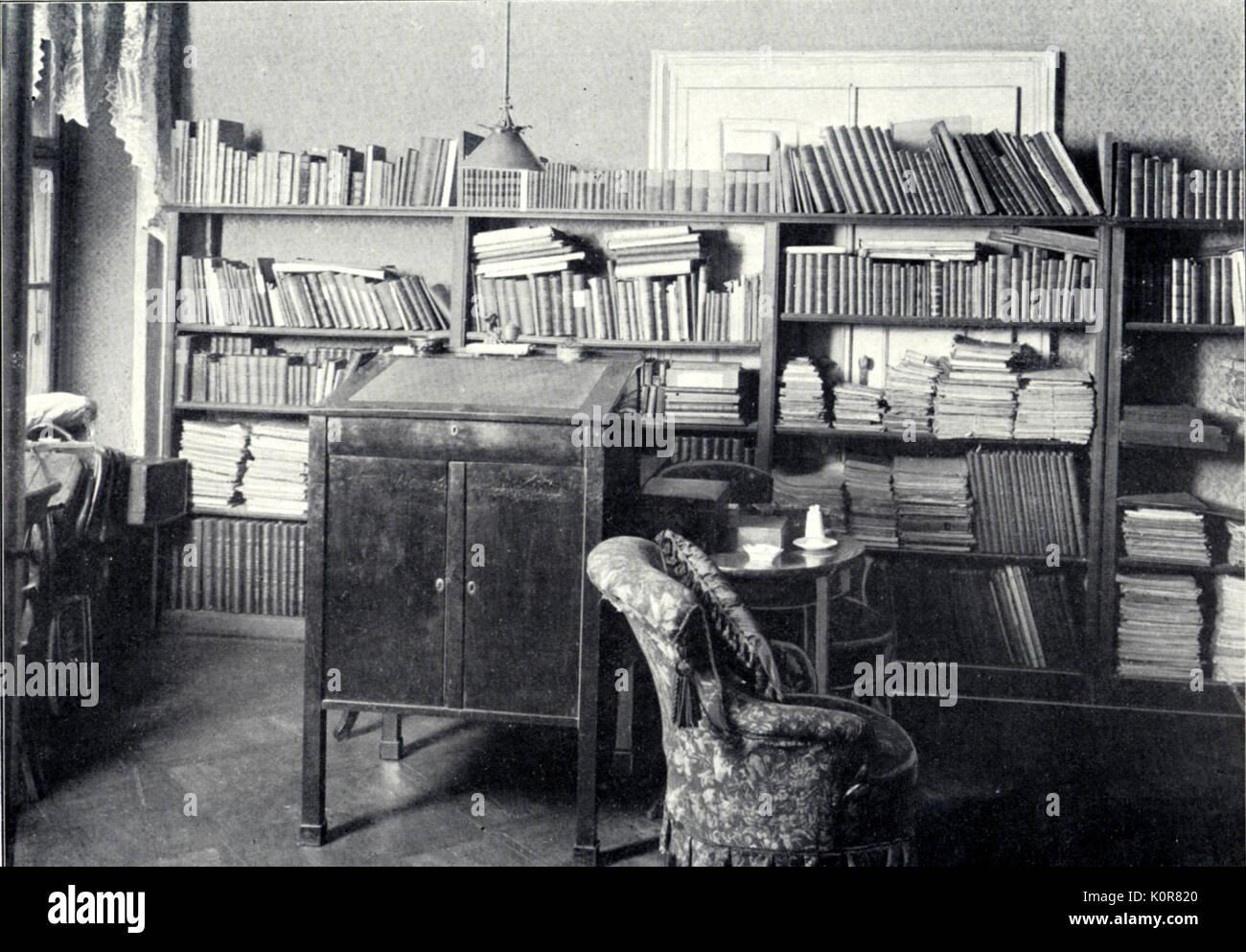 Johannes Brahms studio e la biblioteca di Vienna. Compositore tedesco ( 1833 - 1897 ) Foto Stock
