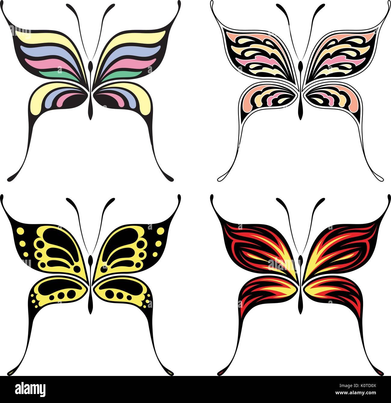 Set Di Quattro Disegni Di Farfalle Isolati Su Sfondo Bianco In