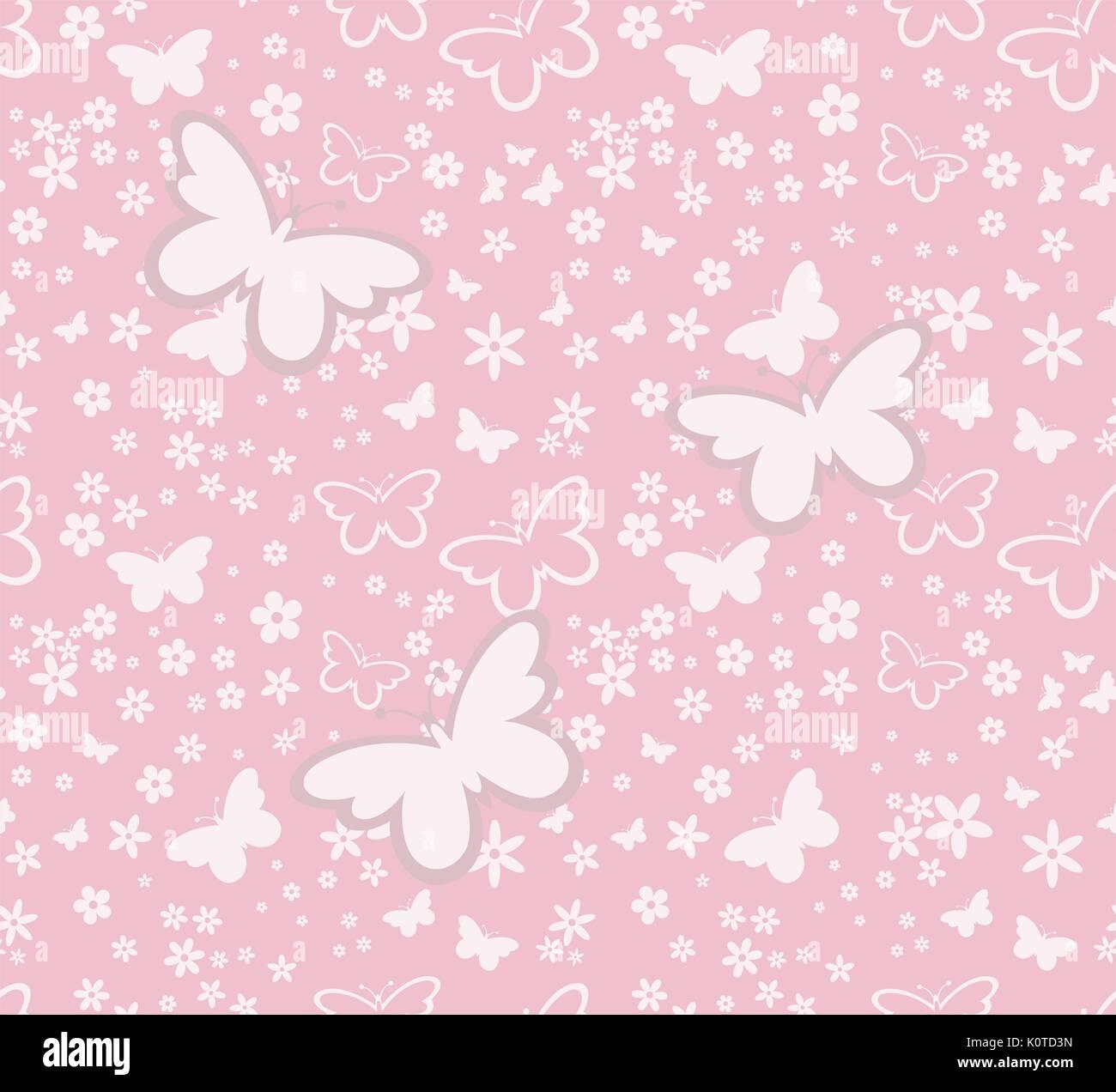 Farfalle Sagome Seamless Pattern Su Sfondo Rosa In Formato