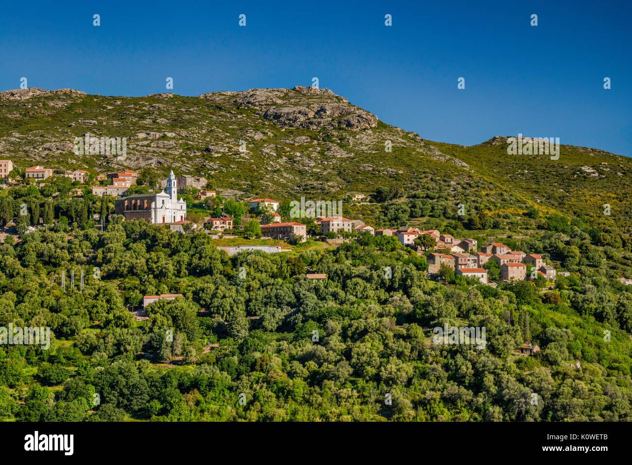 Città sulla collina di Santo-Pietro-di-tenda, il Nebbio regione, Haute-Corse reparto, Corsica, Francia Immagini Stock