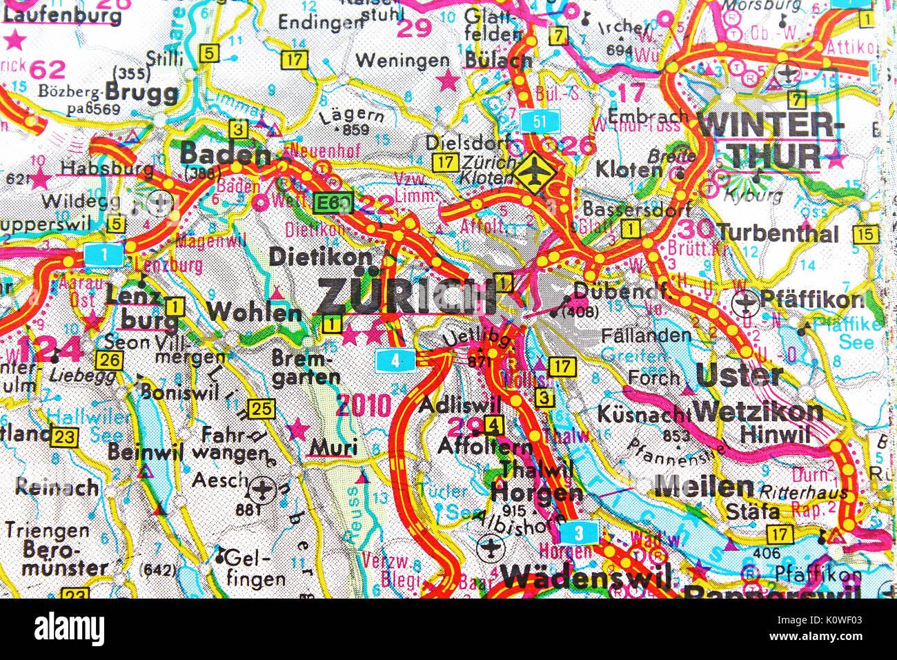 Cartina Zurigo.Zurich Zurich Mappa Mappa Della Citta Mappa Stradale Foto Stock Alamy