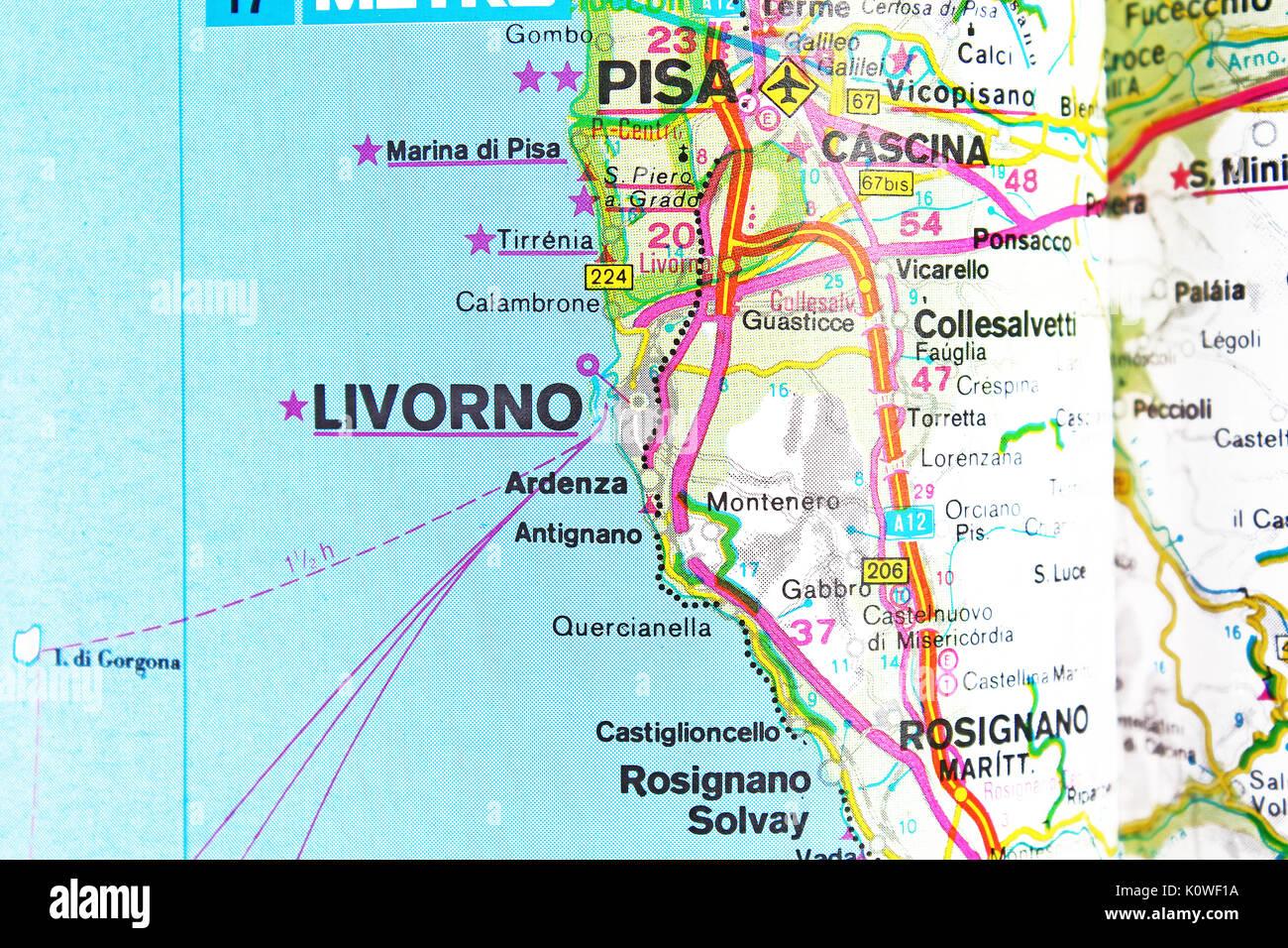 Stradale Cartina Geografica Toscana.Livorno Mappa Mappa Della Citta Mappa Stradale Foto Stock Alamy