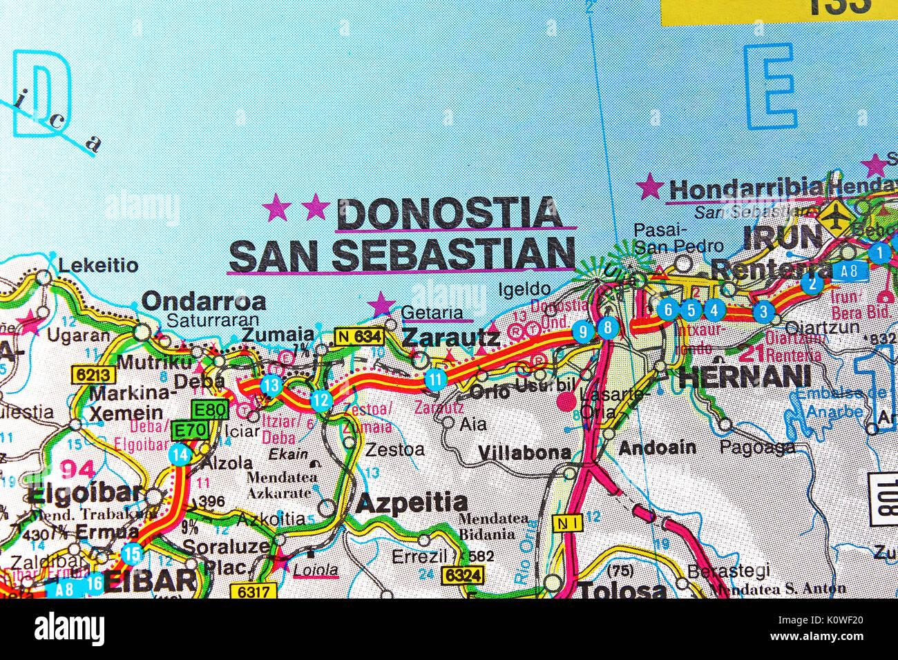 San Sebastian Spagna Cartina.Donostia San Sebastian Mappa Mappa Della Citta Mappa Stradale Foto Stock Alamy
