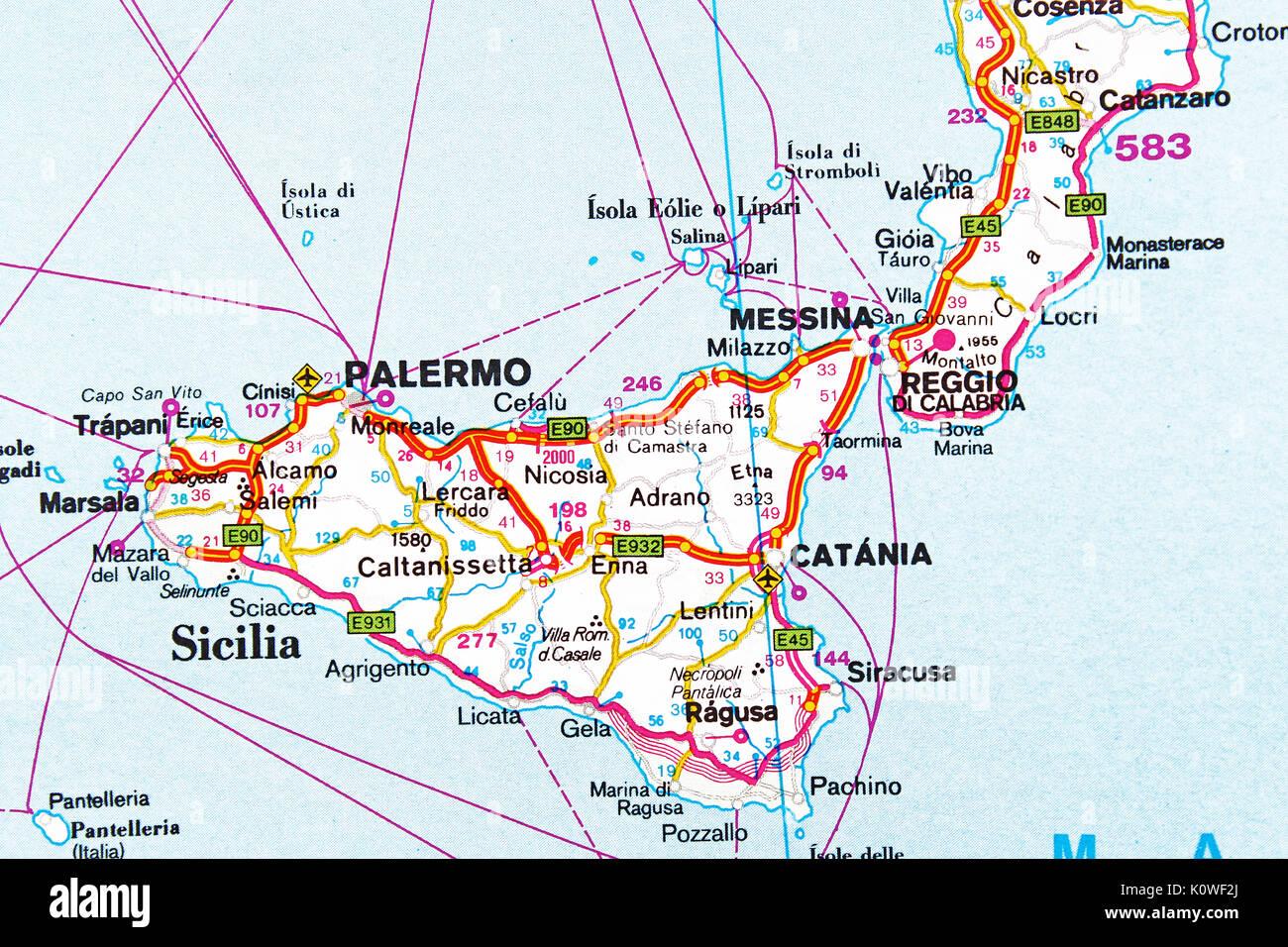Cartina Strade Sicilia.Mappa Di Palermo Mappa Della Citta Mappa Stradale Foto Stock Alamy