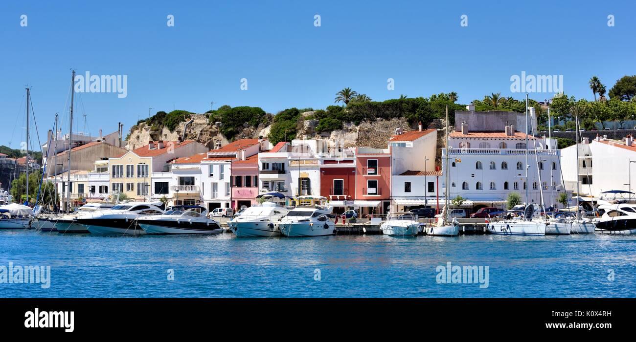 Mahon marina lungomare Menorca Minorca spagna Immagini Stock