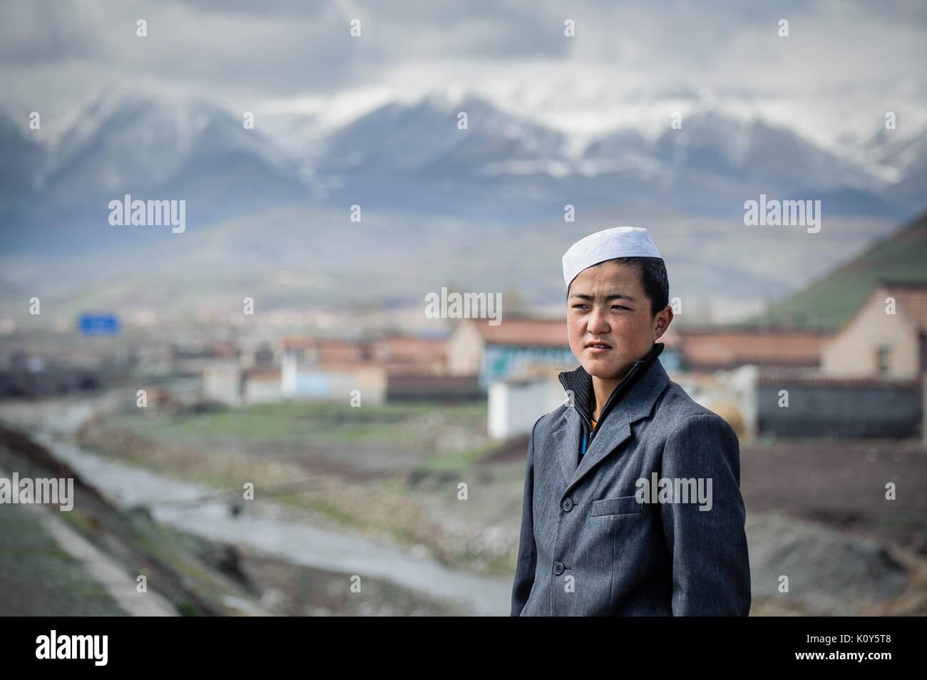 Un adolescente di Hui minoranza etnica della Cina. Immagini Stock