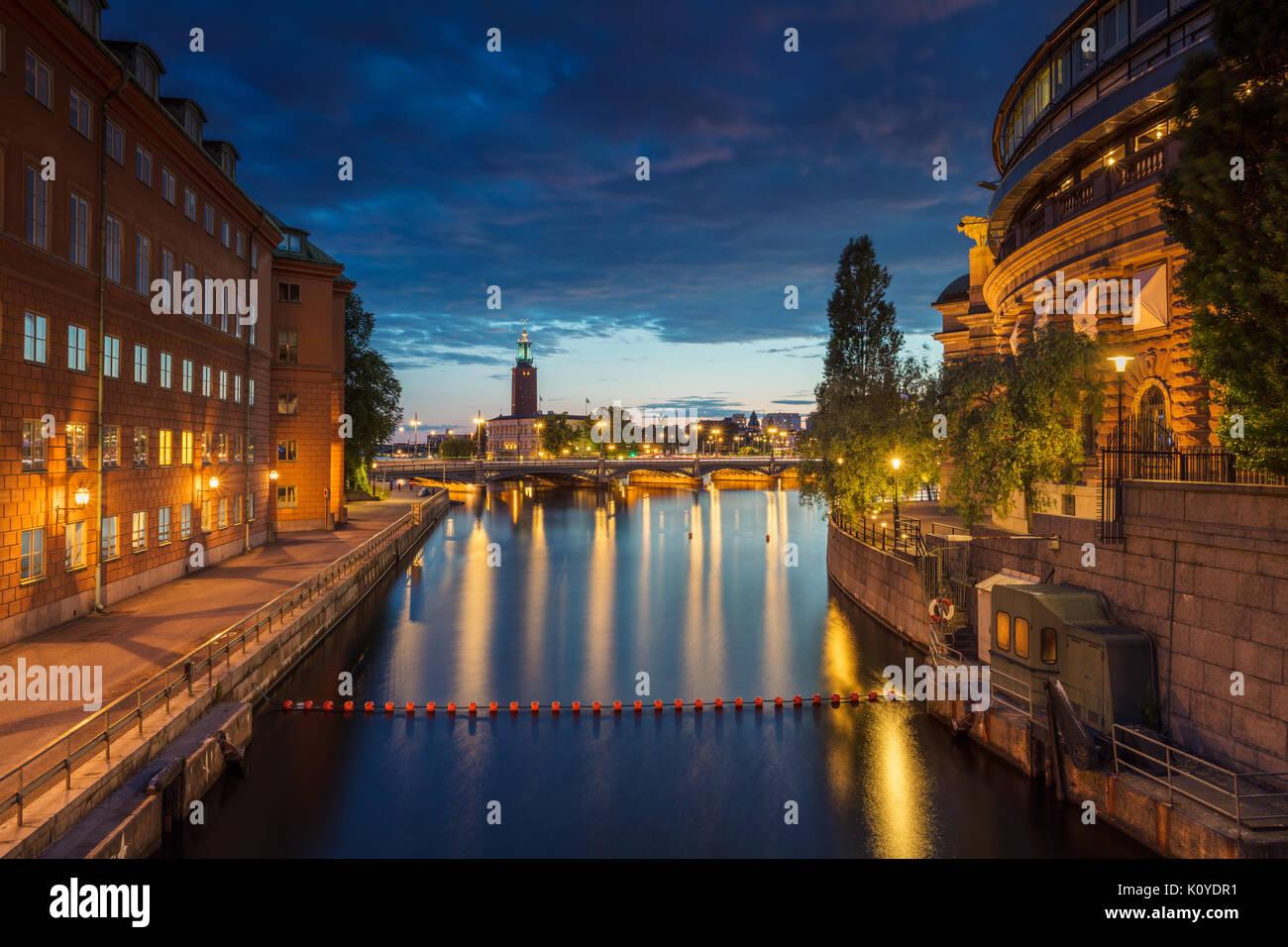 Stoccolma. cityscape immagine della città vecchia di Stoccolma, in Svezia durante il tramonto. Immagini Stock
