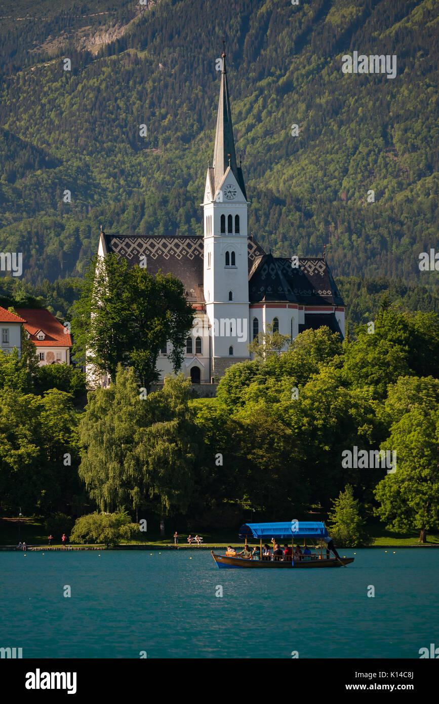 La Chiesa di San Martino a Bled Slovenia Immagini Stock