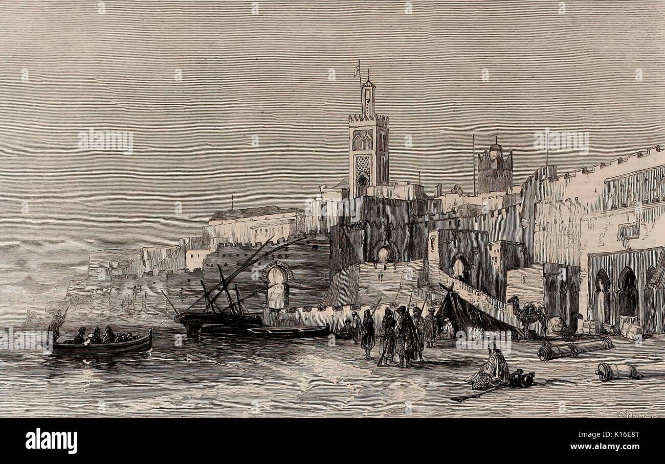 Porto di Tangeri, Marocco, circa 1860 Foto Stock