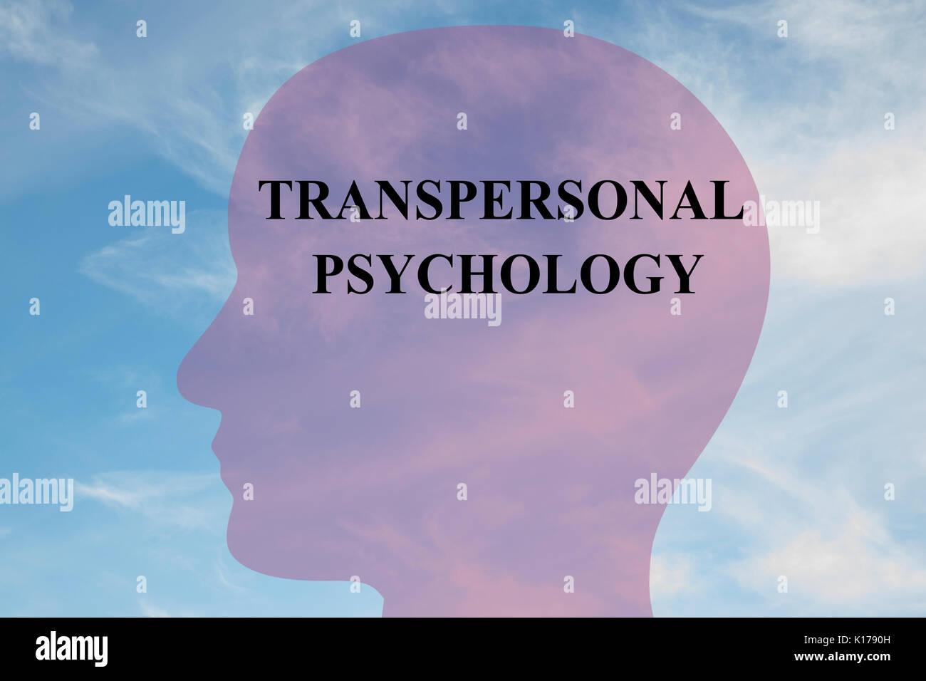 """Il rendering di illustrazione di """"psicologia transpersonale """" script sulla silhouette di testa, con cielo nuvoloso come sfondo. Umano concetto mentale. Immagini Stock"""