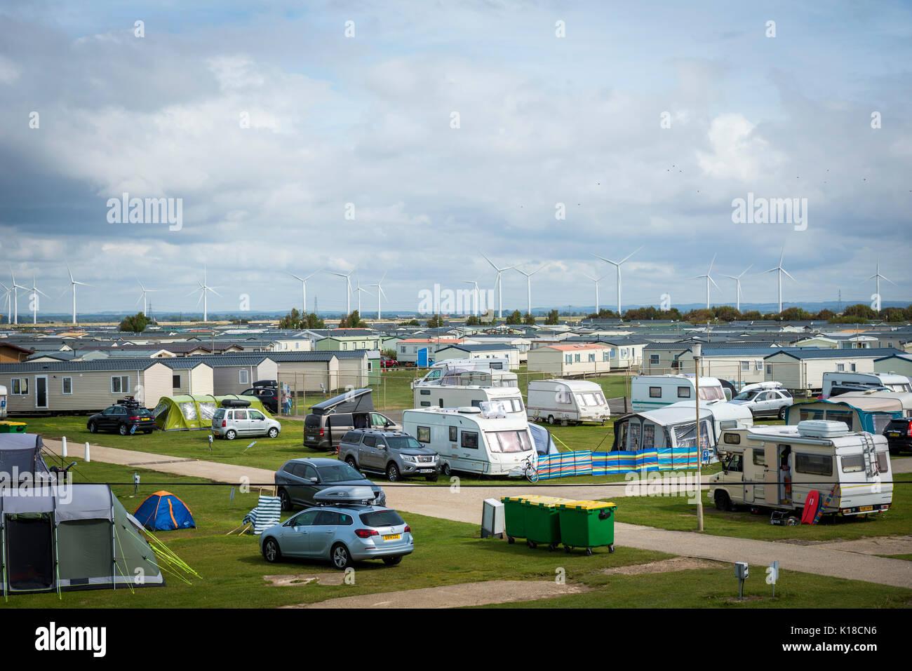 Campeggio a Camber Sands, East Sussex, Regno Unito Immagini Stock