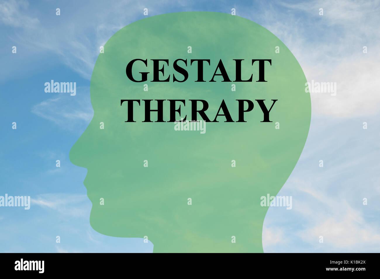 Il rendering di illustrazione della terapia della gestalt script sulla silhouette di testa, con cielo nuvoloso come sfondo. Cervello umano concetto. Immagini Stock