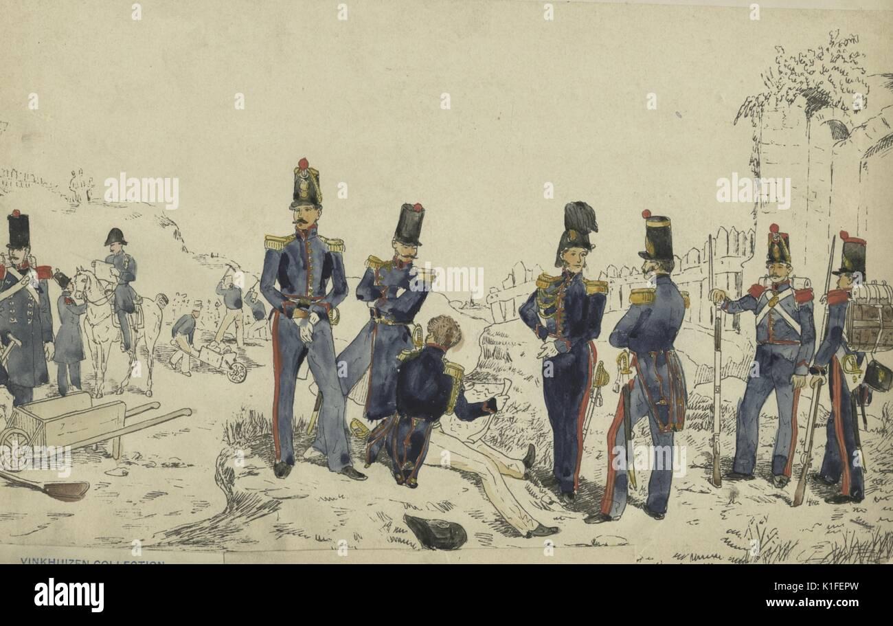 Incisione raffigurante un gruppo di soldati francesi intitolata corps du  Genie et Sapeurs Mineurs 83093bf66063