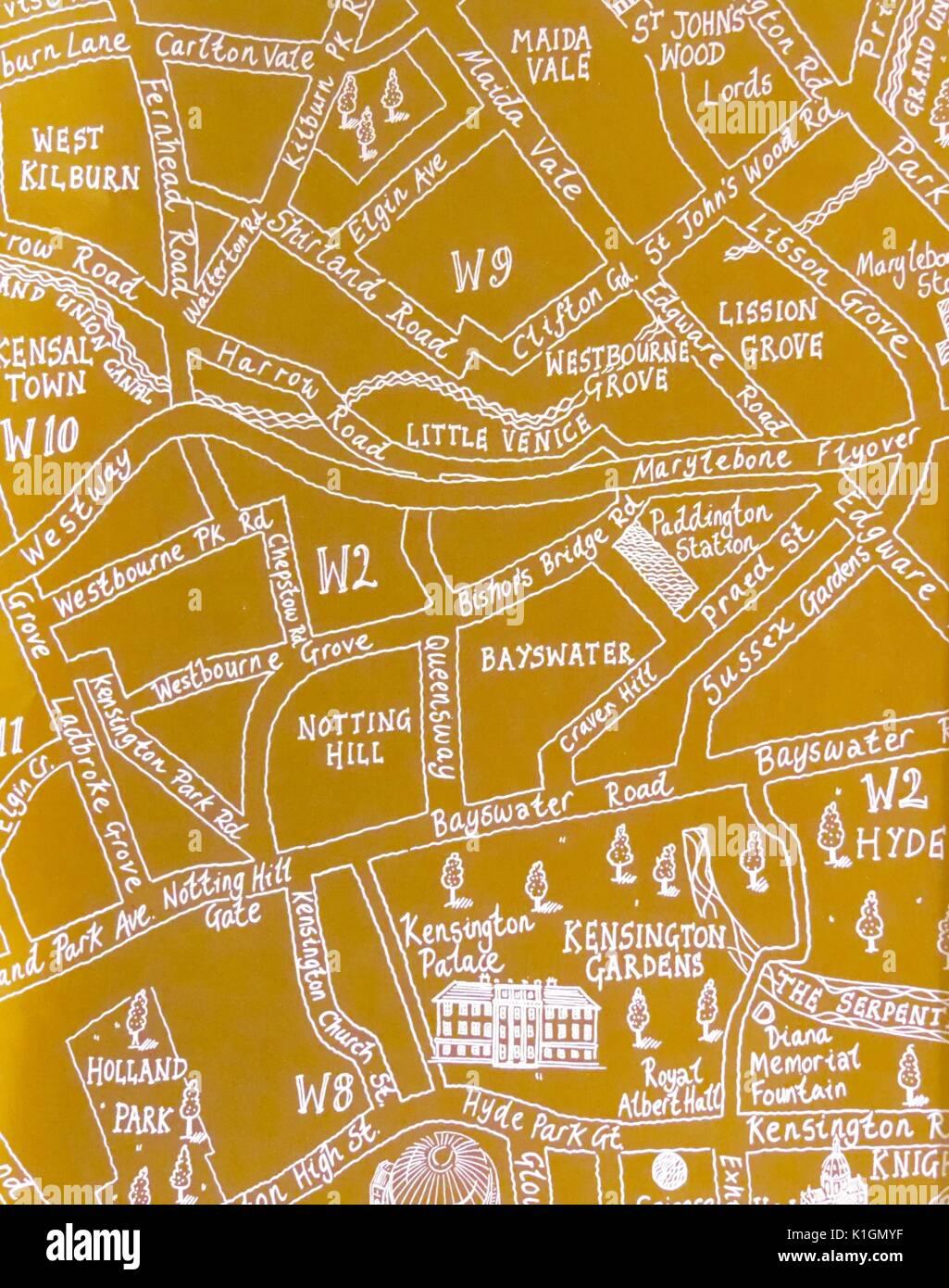 Cartina Con Monumenti Di Londra.Giallo Disegnati A Mano Mappa Di Una Parte Del Centro Di Londra Con Le Immagini Di Famosi Monumenti E Luoghi Di Interesse Foto Stock Alamy