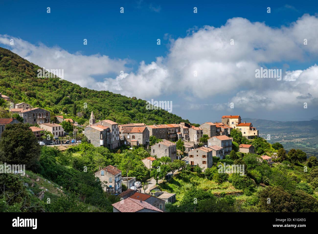 Città sulla collina di Sollacaro, Corse-du-Sud, Corsica, Francia Immagini Stock