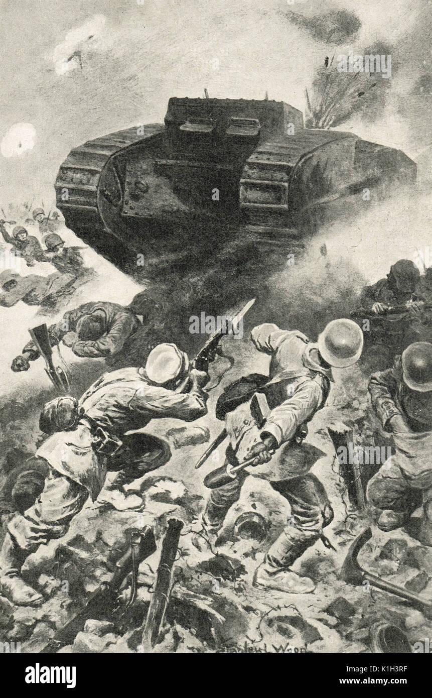 La forgiatura del serbatoio attraverso le linee tedesche, Battaglia delle Somme, WW1 Immagini Stock