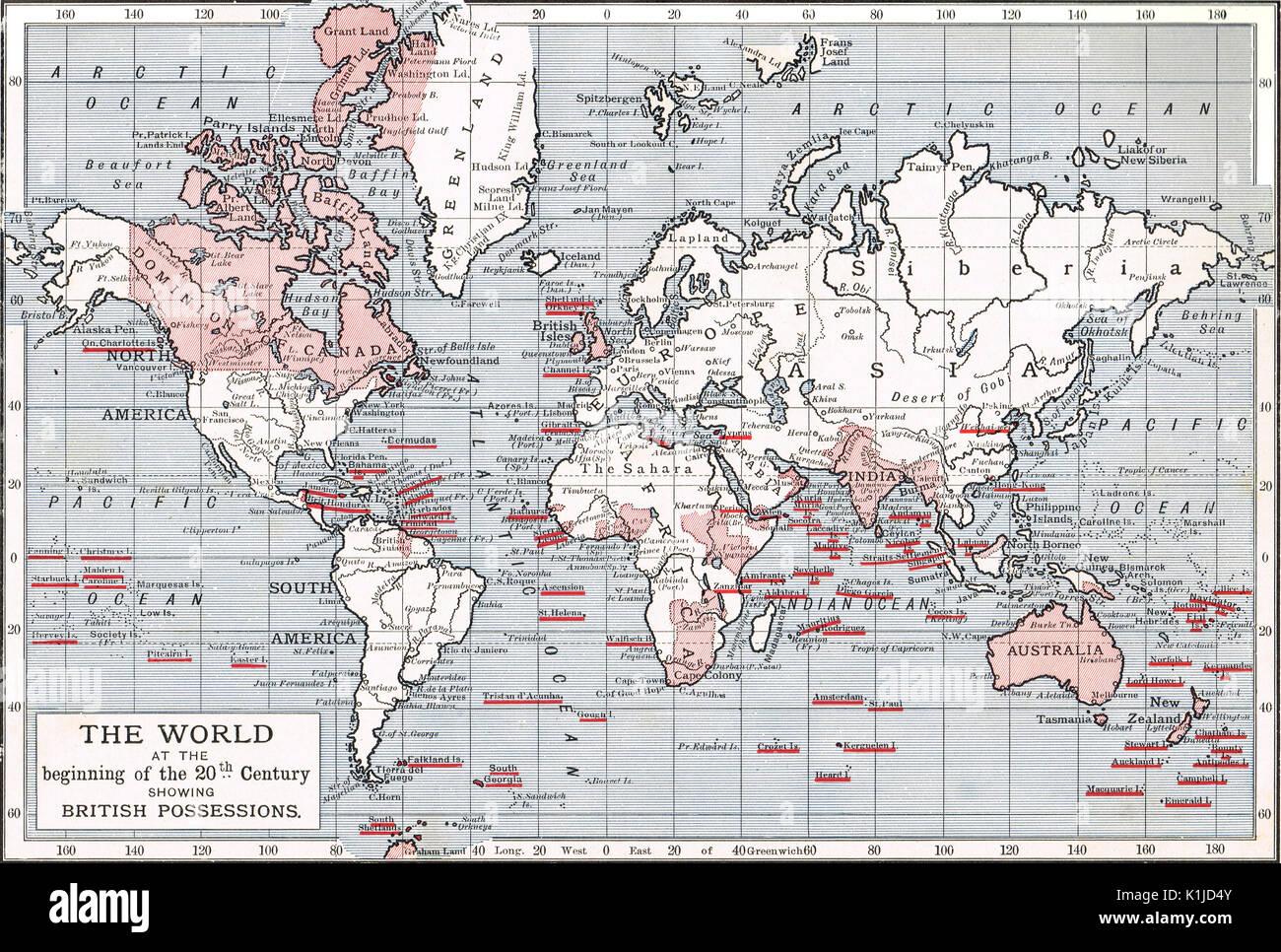 Mappa del mondo che mostra British possedimenti all'inizio del XX secolo Immagini Stock