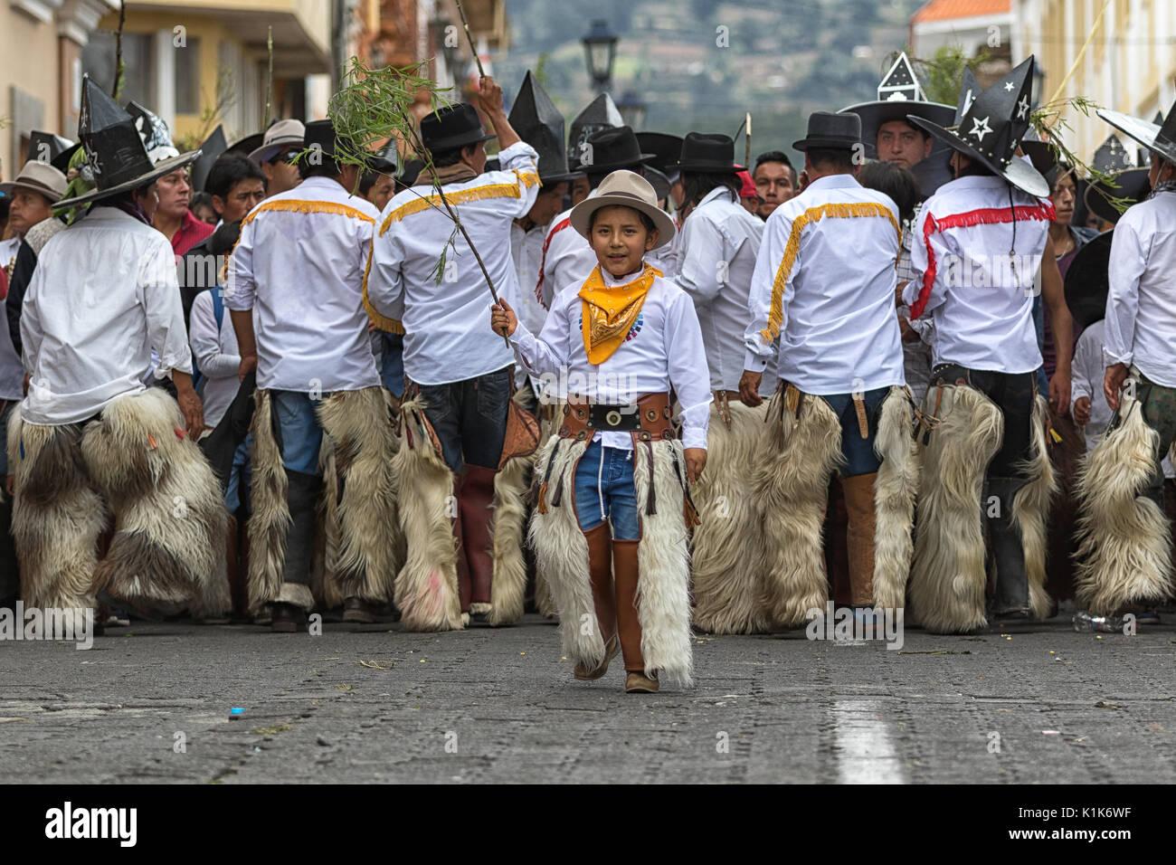 Inti Raymi celebrazione annuale del solstizio d'estate in Cotacachi Ecuador Immagini Stock