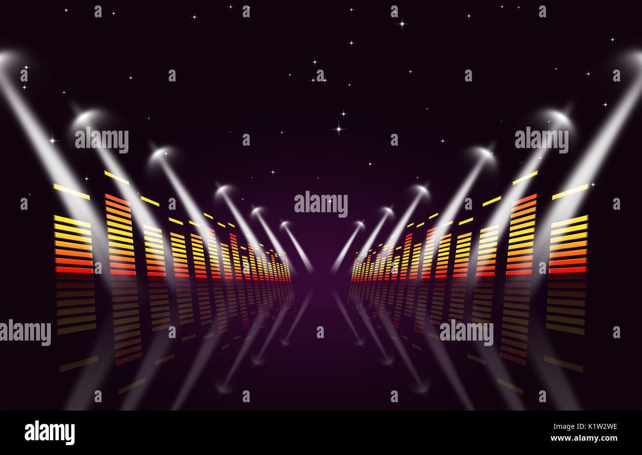Multicolore sfondo musicale con equalizzatore e faretti per gli eventi attivi Immagini Stock