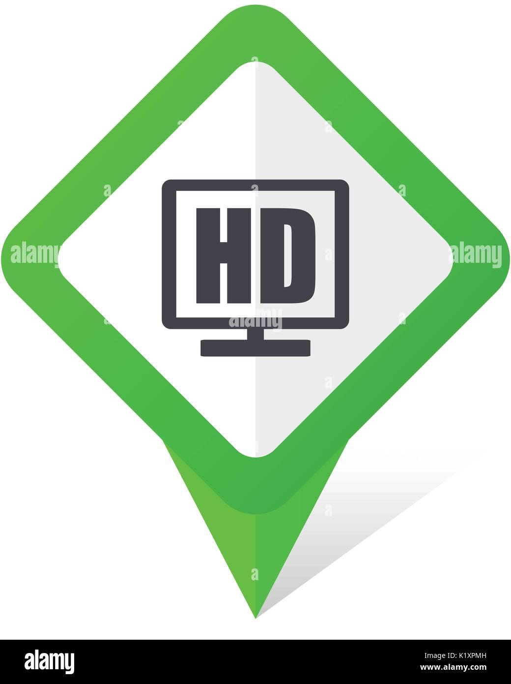 Display Hd Quadrato Verde Puntatore Icona Vettoriale In Formato Eps