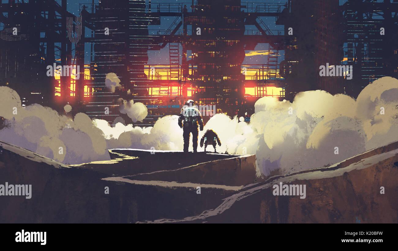 Astronauta e piccolo robot guardando città futuristica al tramonto, arte digitale stile, illustrazione pittura Immagini Stock
